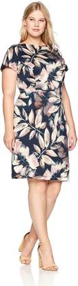 London Times Women's Plus Size Short Sleeve Arch Shoulder Ponte Sheath Dress