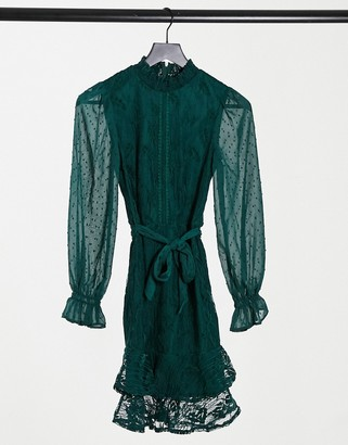 Little Mistress high-neck long-sleeved lace mini dress with tie belt in emerald green