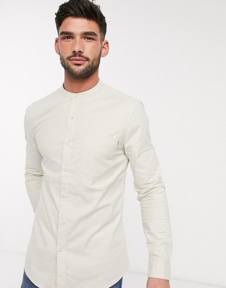 Topman long sleeve oxford shirt with grandad collar in stone