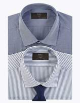 M&S CollectionMarks and Spencer 2 Pack Tailored Gingham Easy Iron Shirts with Tie