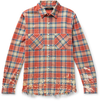 Amiri Logo-Appliqued Distressed Checked Cotton And Linen-Blend Flannel Shirt