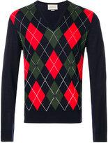 Gucci patterned V-neck jumper