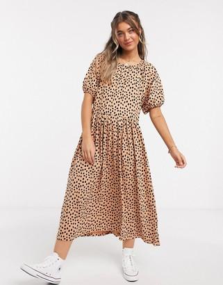ASOS DESIGN gathered neck midi dress in leopard print