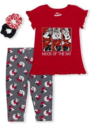 Minnie Mouse Girls 4-6X Ruffle Sleeve Graphic Tee and Printed Legging, 2-Piece Outfit Set With Scrunchies