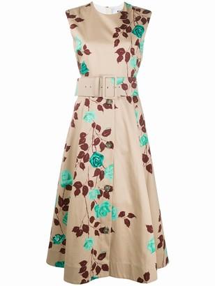 MSGM rose-print flared dress