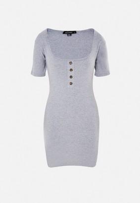 Missguided Grey Rib Tortoiseshell Scoop Front Mini Dress