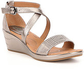 Montana Anthracite Sartell Metallic Banded Criss Cross Ankle Strap Wedge Sandal