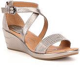 Montana Sartell MetallicLeather Criss Cross Wedge Sandals