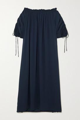 SU PARIS Off-the-shoulder Ruched Seersucker Maxi Dress - Navy