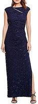 Lauren Ralph Lauren Cap Sleeve Sequin Lace Gown