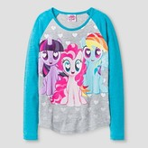My Little Pony Girls' Grinning Ponies Long Sleeve T-Shirt - Heather Grey