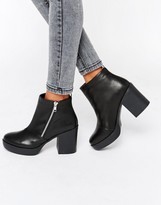 London Rebel Chunky Heeled Chelsea Boots With Zip Detail