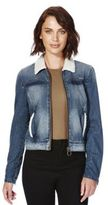 Only Faux Shearling Trim Denim Jacket, Women's