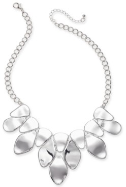 "Style&Co. Style & Co Silver-Tone Sculptural Statement Necklace, 18"" + 3"" extender, Created for Macy's"