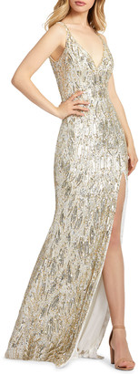 Mac Duggal Sequin Sheath Gown with Thigh Slit