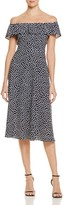 Betsey Johnson Dot-Print Off-the-Shoulder Dress