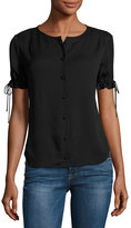 Frame Tie-Cuff Short-Sleeve Crepe Shirt, Black