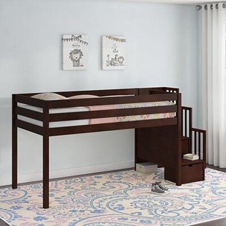 Harriet Bee Kayser Contemporary Stairway Twin Low Loft Bed with 3 Drawers Bed Frame Color: Cherry