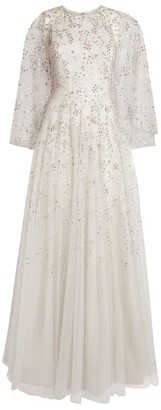 Jenny Packham Sequin-Embroidered Capelet Gown