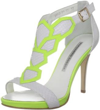 SUECOMMA BONNIE Women's Ss7-6 White Snakeprint/Light Green Piping T Straps Heels 4.5 UK 37 EU 7 US
