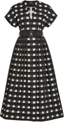 Martin Grant Belted Gingham Cotton Midi Wrap Dress