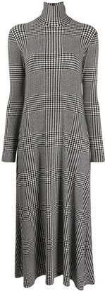 Norma Kamali Check-Print Roll Neck Dress