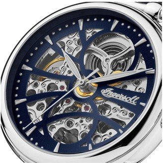 Ingersoll Star Navy and Silver Detail Skeleton Automatic Dial Navy Leather Strap Ladies Watch