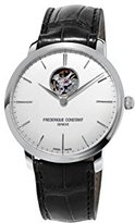 Frederique Constant Men's 'Slimline Auto Heart Beat' Automatic Stainless Steel and Leather Casual Watch, Color:Black (Model: FC-312S4S6)