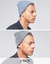 Asos Fisherman Beanie 2 Pack In Gray And Teal SAVE