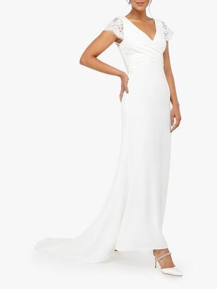 Monsoon Leonora Bridal Crepe Lace Maxi Dress, Ivory