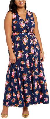 Love Squared Trendy Plus Size Surplice Floral-Print Maxi Dress