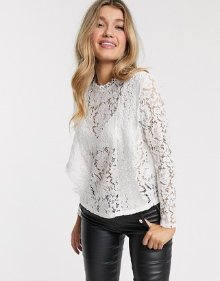 Outrageous Fortune lace paneled blouse in white