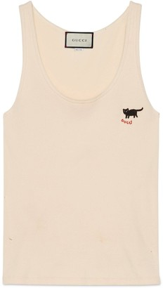 Gucci Rib cotton tank top with cat patch