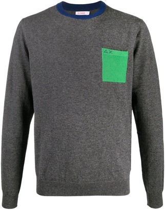 Sun 68 Logo Colour-Block Jumper