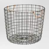 Threshold Extra Large Round Wire Decorative Storage Bin - Antique Pewter with Copper Handle