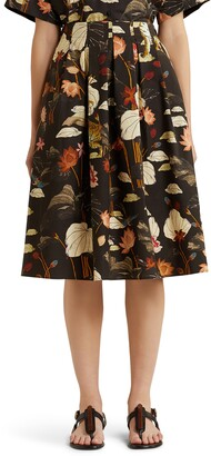 Etro Floral Print Pleated Cotton Skirt