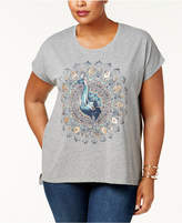 Style and Co Plus Size Sequined Graphic Step-Hem Top, Created for Macy's