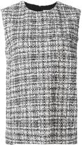 Lanvin sleeveless tweed check blouse