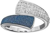 Brilliance+ Brilliance Silver Plated Glitter Bypass Ring with Swarovski Crystals