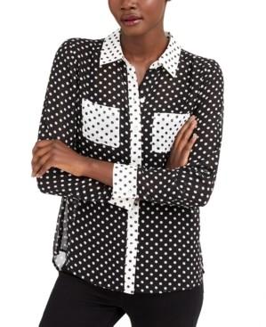 INC International Concepts Inc Petite Polka-Dot Shirt, Created for Macy's