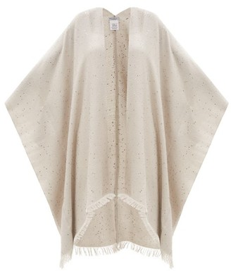Brunello Cucinelli Sequinned Cashmere-blend Shawl - Light Grey