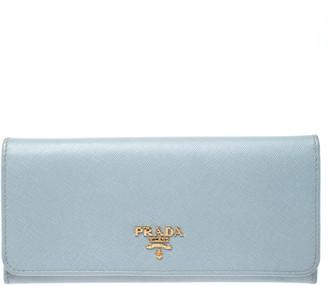 Prada Blue Lago Saffiano Metal Leather Continental Flap Wallet