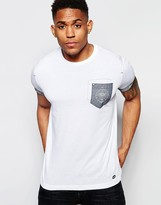 Firetrap Burnout Crew Neck T-shirt With Pocket And Roll Sleeves