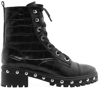 Schutz Andrea Croc-Embossed Leather Combat Boots