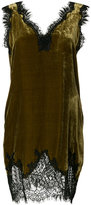 Gold Hawk velvet lace trim cami dress