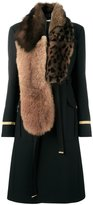 Givenchy mixed fur collar military coat