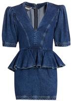 Rotate by Birger Christensen Mindy Denim Peplum Waist Sheath Dress