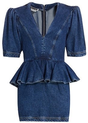 Rotate by Birger Christensen Mindy Denim Peplum Waist Sheath Dress
