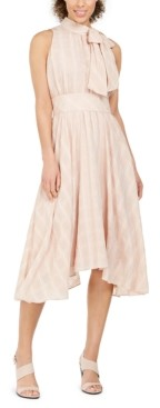 Calvin Klein Plaid Bow-Neck Halter Dress