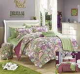 Chic Home 10 Piece Princess Paisley and Polka Dot Printed Reversible Comforter with Sheet Set